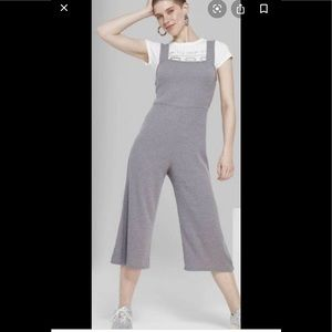 Wild Fabled Ribbed grey Jumpsuit sz large